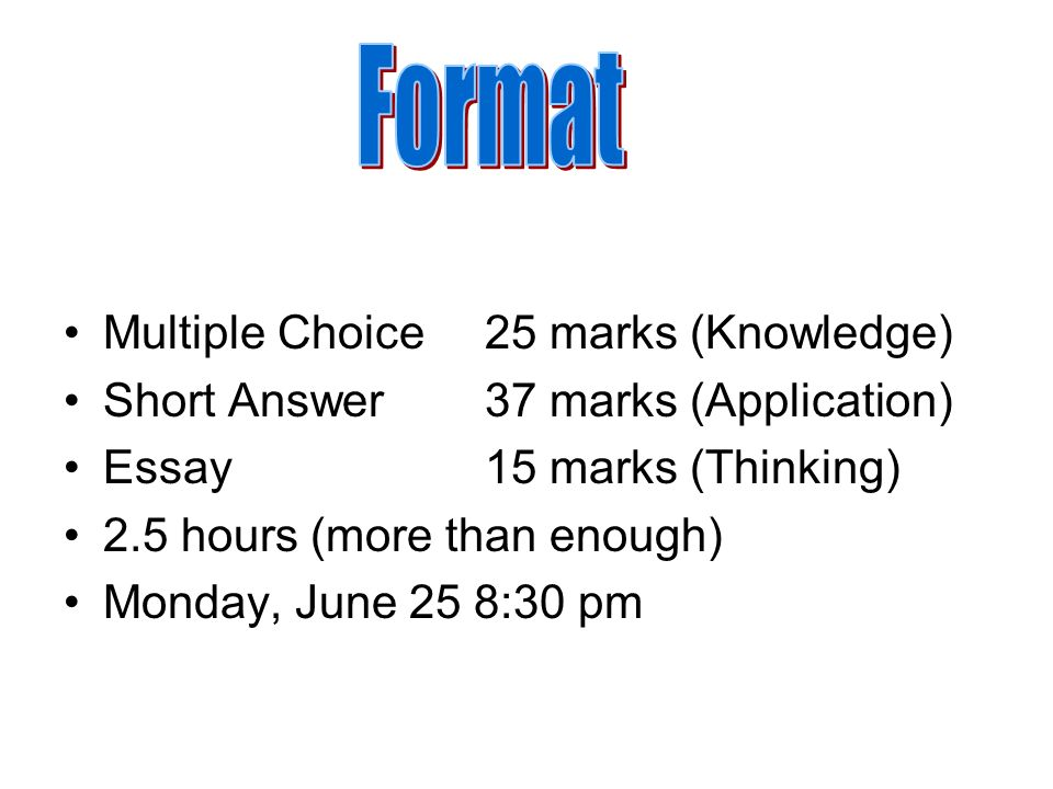 Format Multiple Choice 25 marks (Knowledge)
