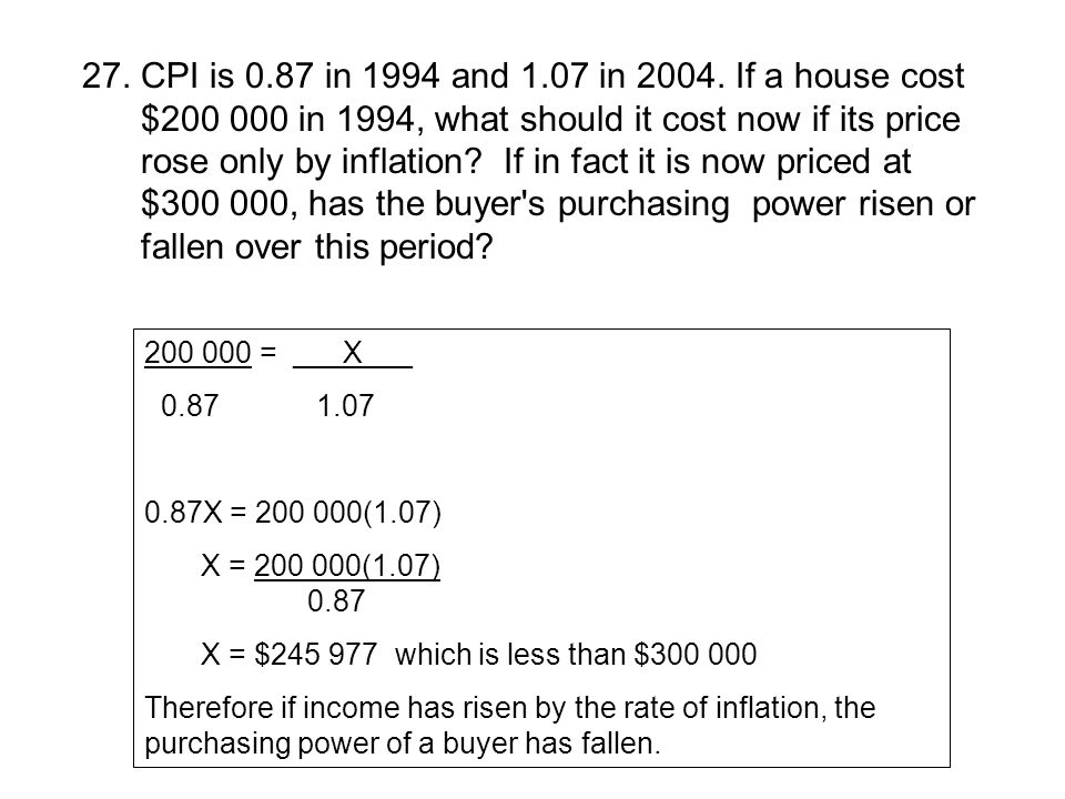 27. CPI is 0.87 in 1994 and 1.07 in 2004. If a house cost