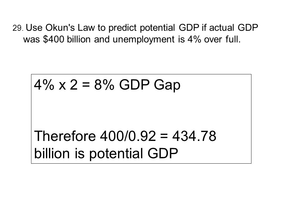 Therefore 400/0.92 = billion is potential GDP