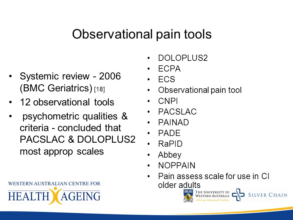observational pain assessment scales Crow, tiffany m pilch, nicholas j and aiken, james p, clinical pain scale   40 doloplus 2 - observational pain assessment scale cognitively impaired x.