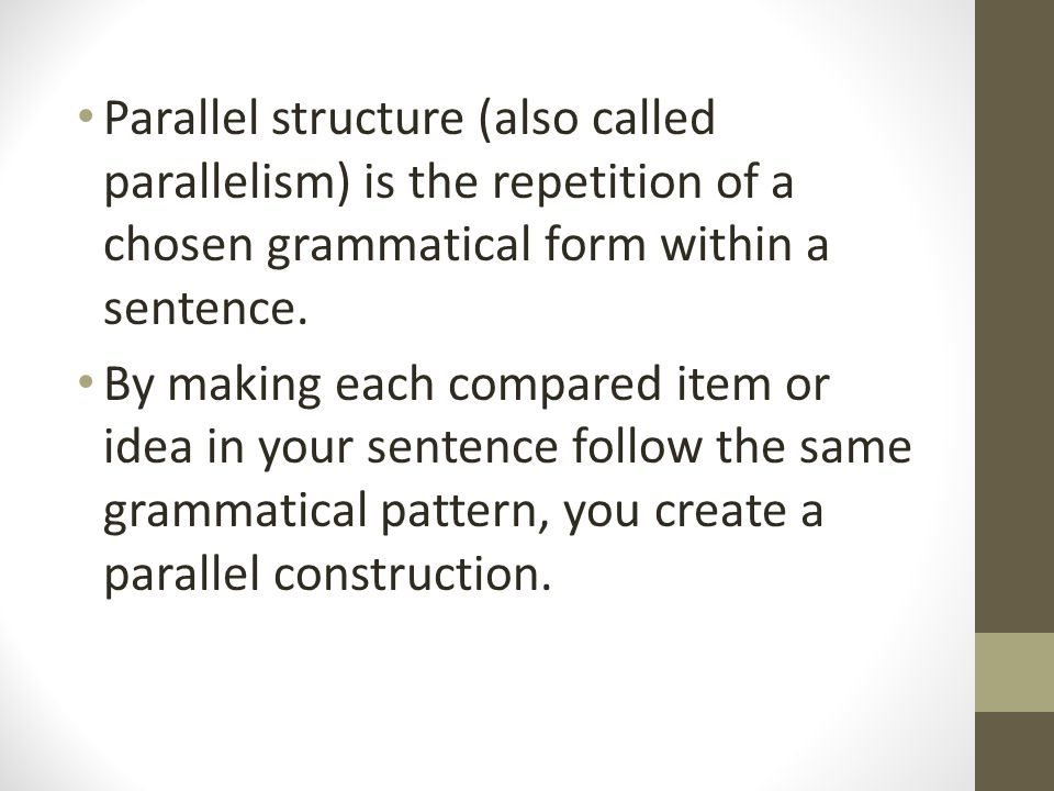 parallel structure comparison essay Start studying chapter 23 - writing fundamentals ii paragraphs learn vocabulary  a parallel structure d) one difference between an essay and a technical.