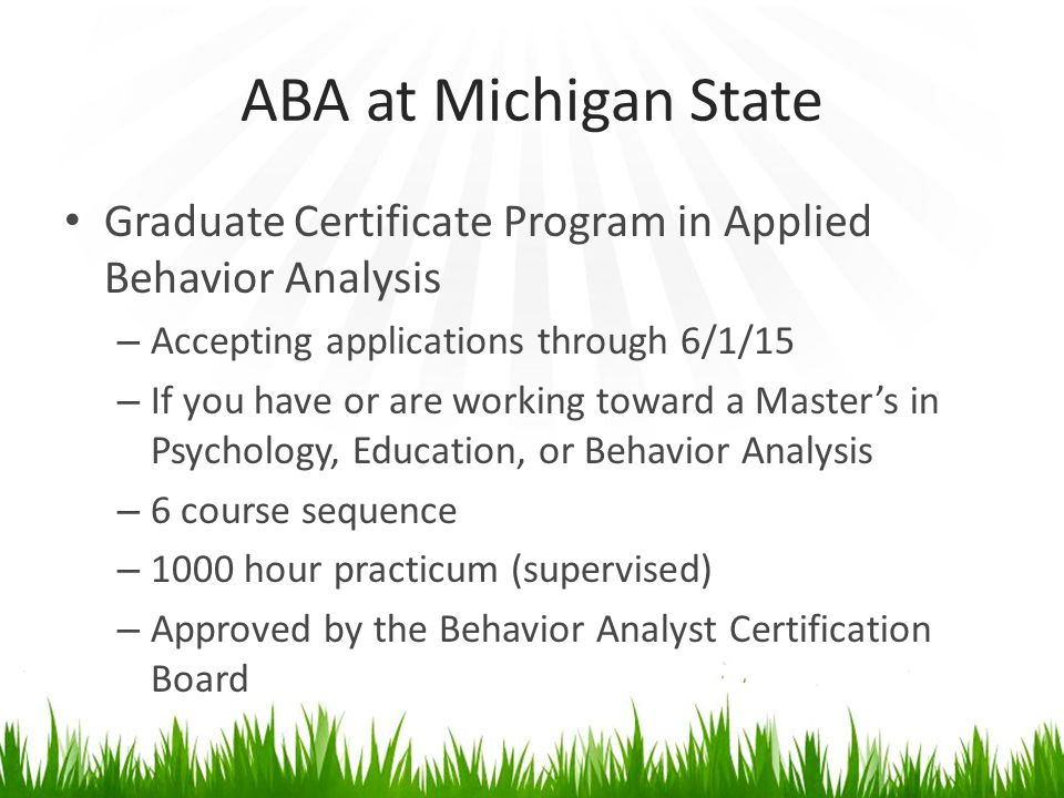 the graduate sequence analysis Applied behavior analysis  a graduate certificate program is also available for students who have previously completed a master  on-campus course sequence fall 1.