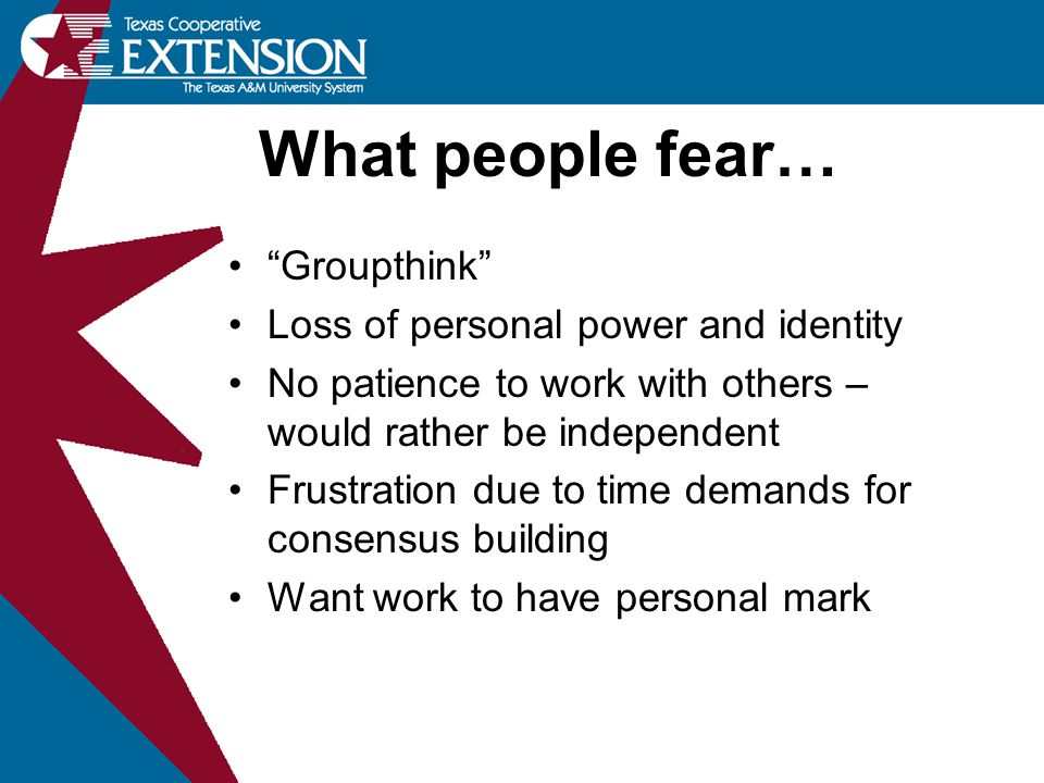 What people fear… Groupthink Loss of personal power and identity