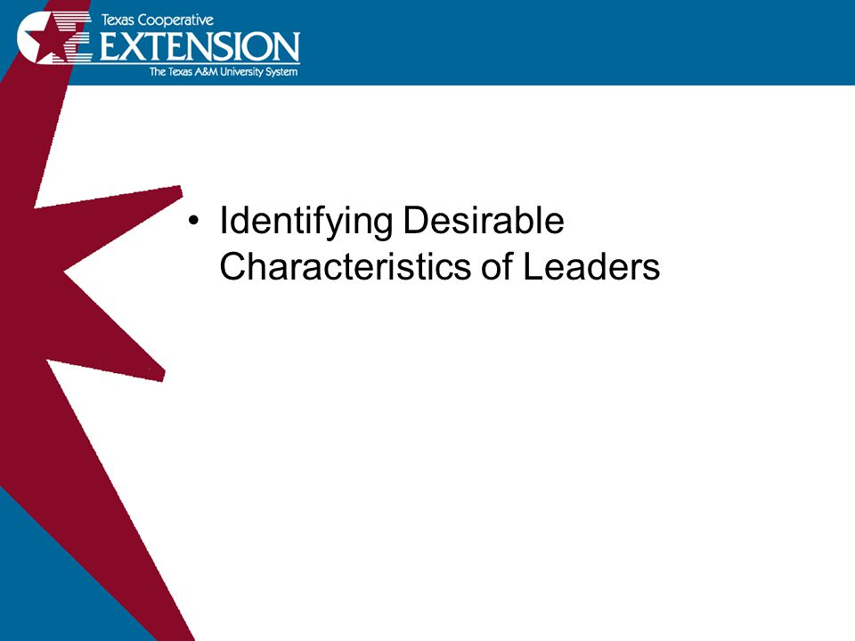 Identifying Desirable Characteristics of Leaders