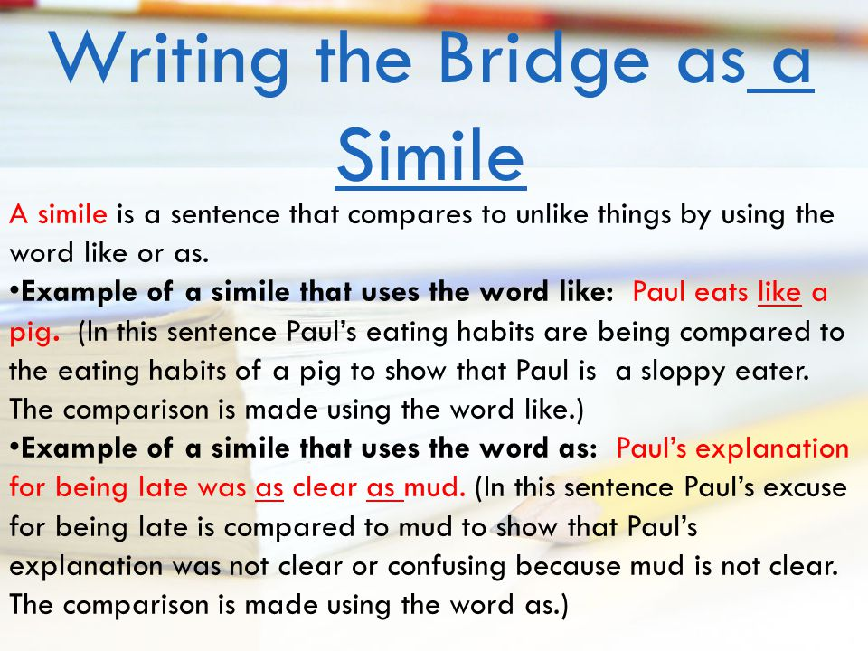 How to write a bridge sentence example