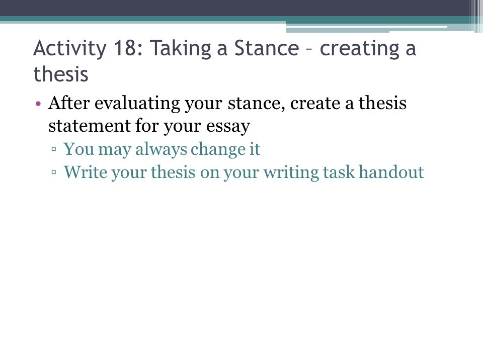 Creating thesis statement activities