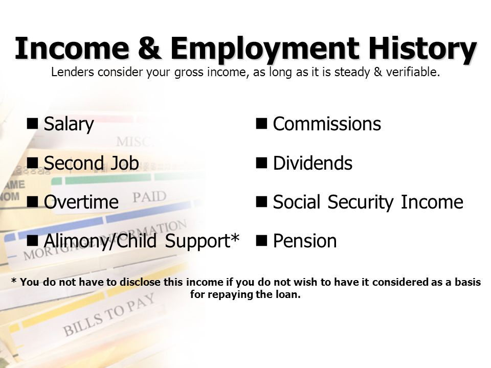 Income & Employment History