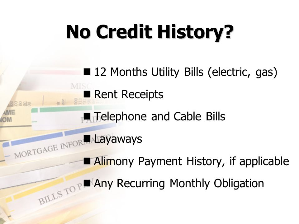 No Credit History 12 Months Utility Bills (electric, gas)