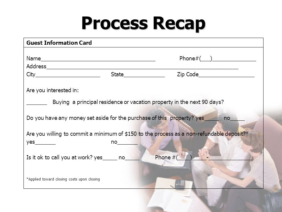 Process Recap Guest Information Card