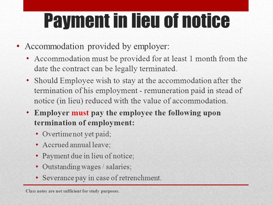 Payment in lieu of notice
