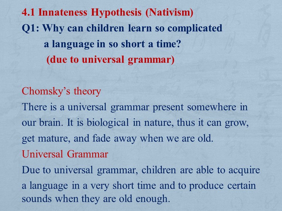 The critical period hypothesis in language acquisition
