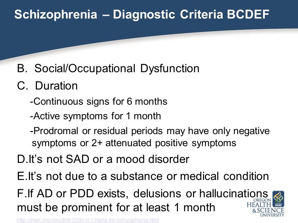 dsm iv schizophrenia criteria pdf