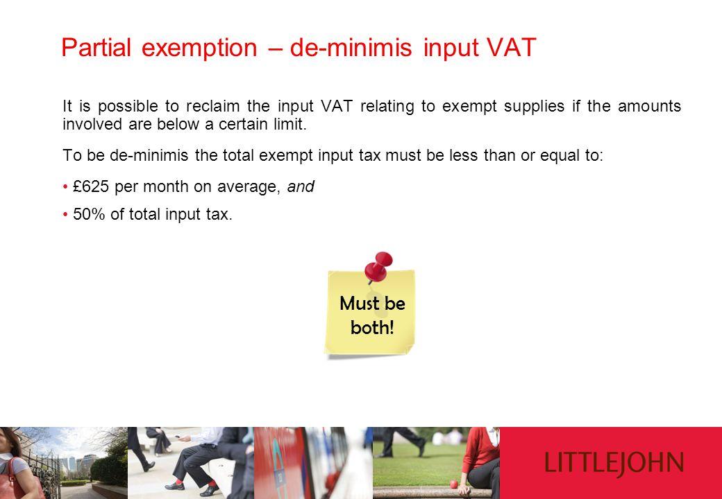 Partial exemption – de-minimis input VAT