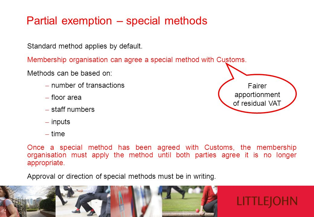 Partial exemption – special methods