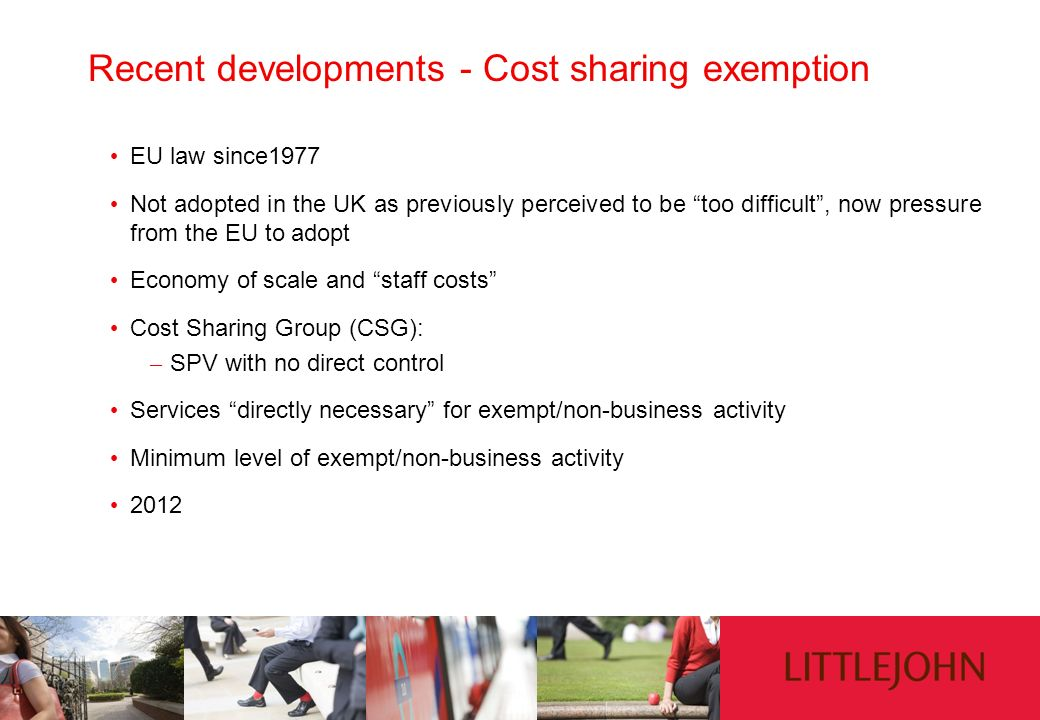 Recent developments - Cost sharing exemption