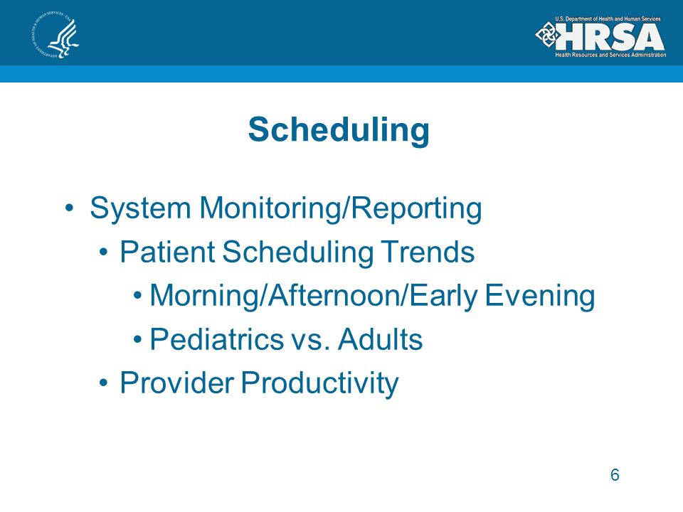 Scheduling System Monitoring/Reporting Patient Scheduling Trends