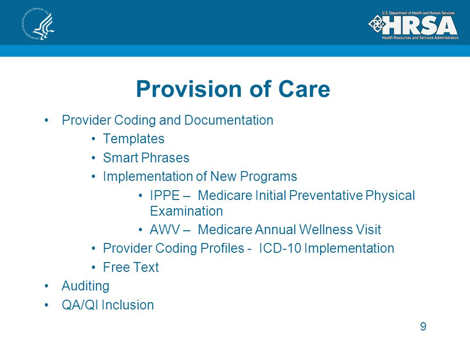 Provision of Care Provider Coding and Documentation Templates