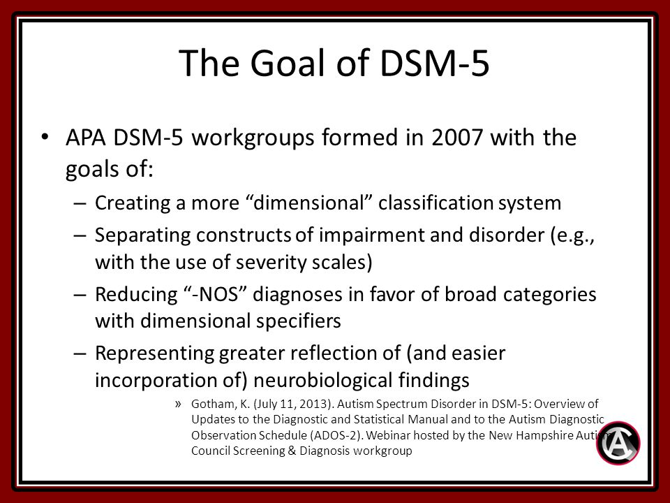 according to the diagnostic and statistical manual of mental disorders