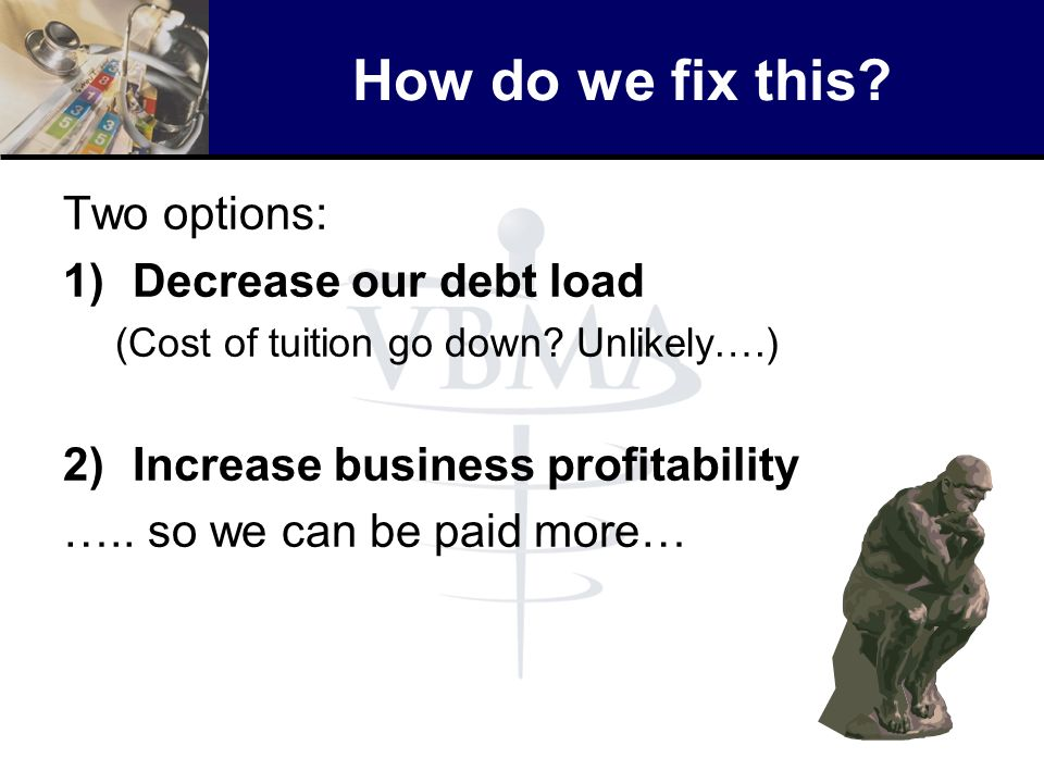 How do we fix this Two options: Decrease our debt load