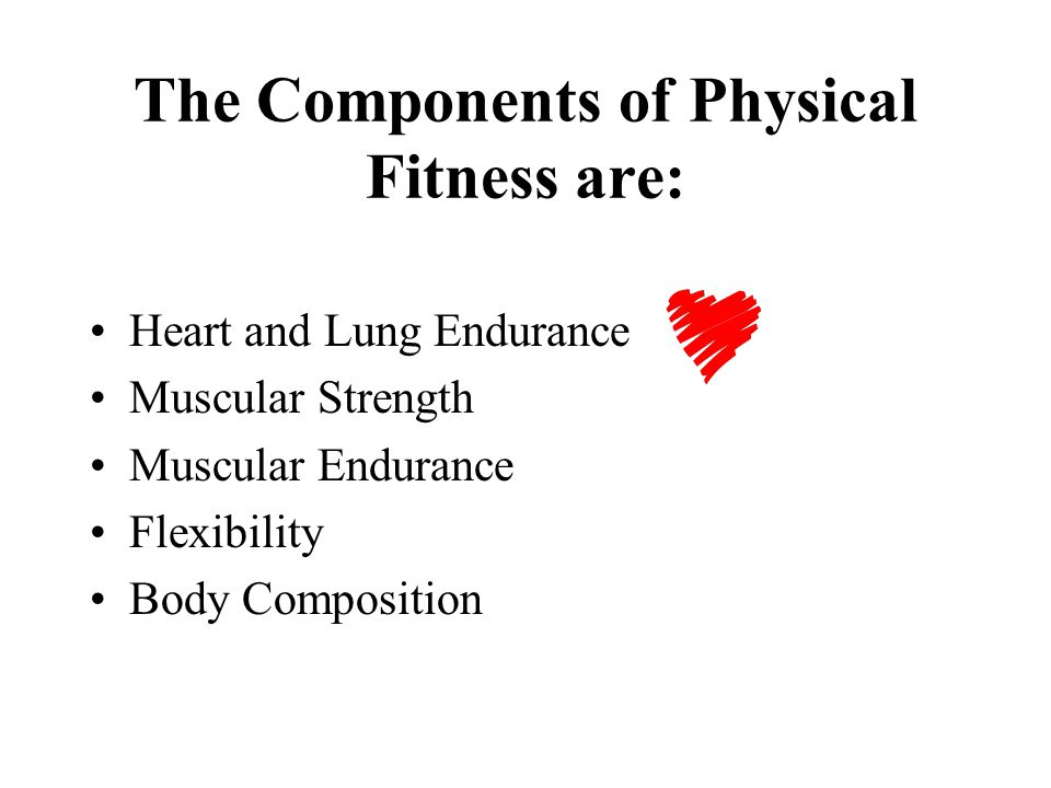 The Components of Physical Fitness are:
