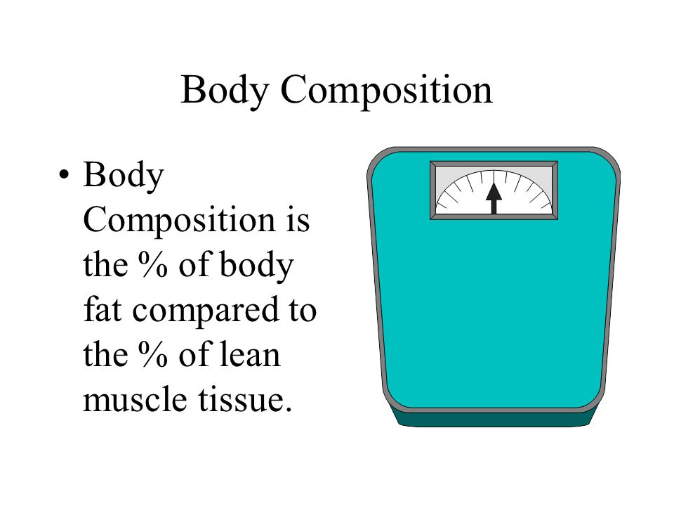 Body Composition Body Composition is the % of body fat compared to the % of lean muscle tissue.