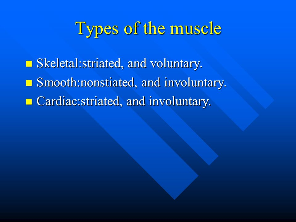 Types of the muscle Skeletal:striated, and voluntary.