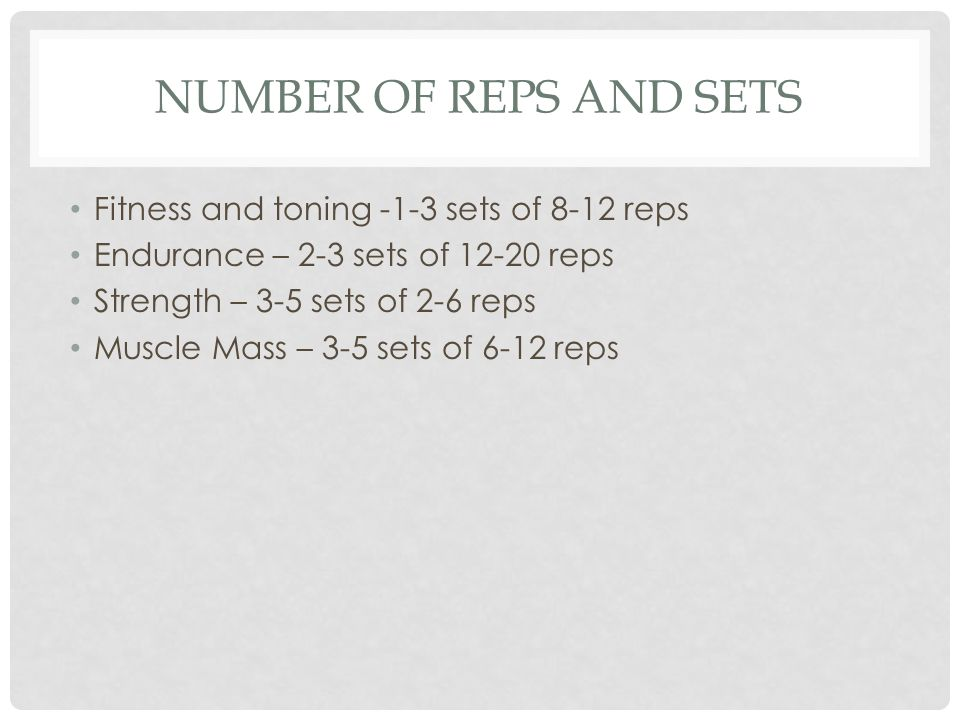 how to decide reps and sets