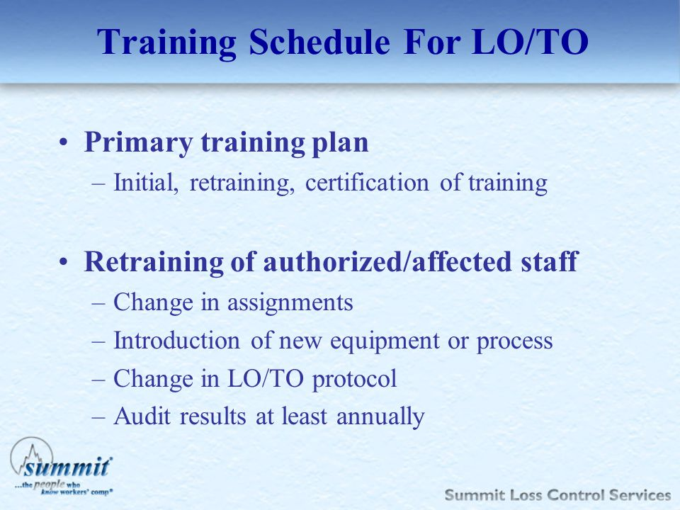 Training Schedule For LO/TO