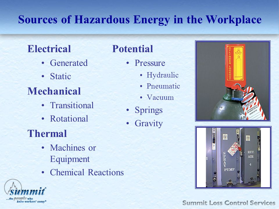 Sources of Hazardous Energy in the Workplace