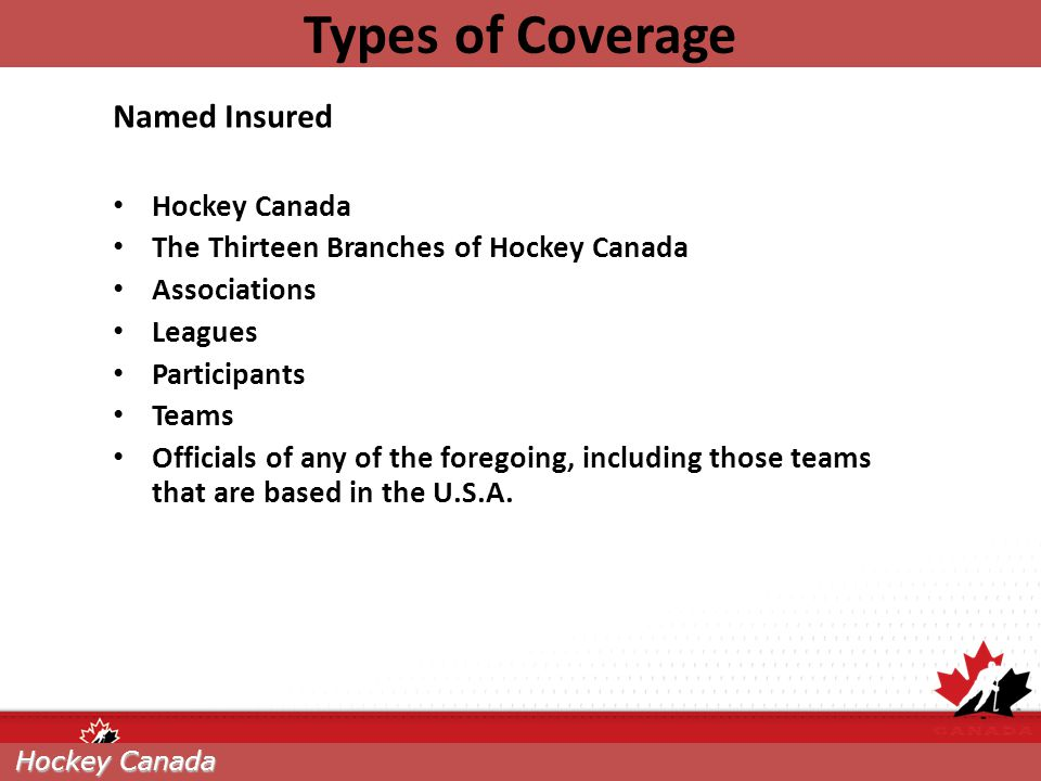 Types of Coverage Named Insured Hockey Canada