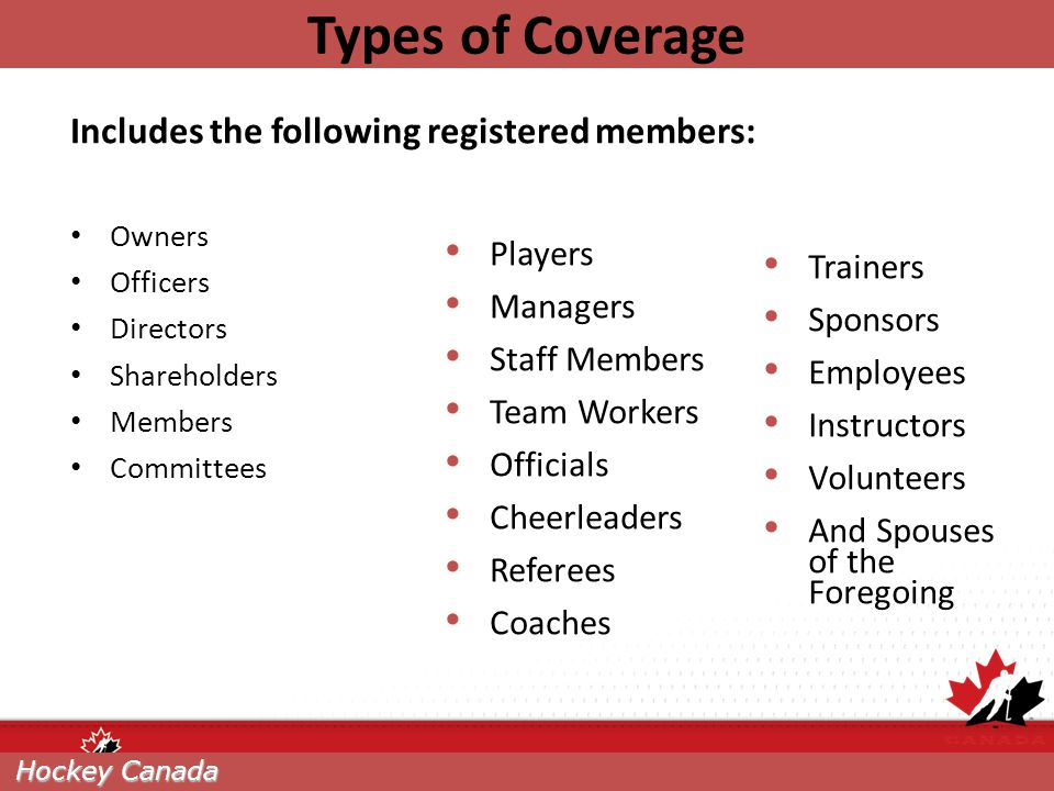 Types of Coverage Includes the following registered members: Players