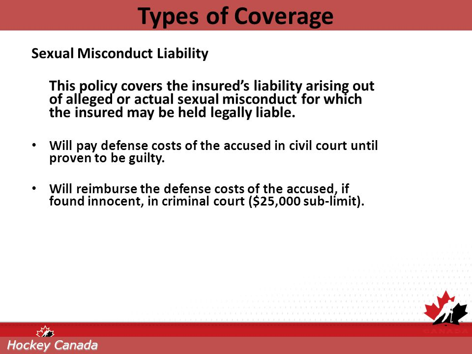 Types of Coverage Sexual Misconduct Liability