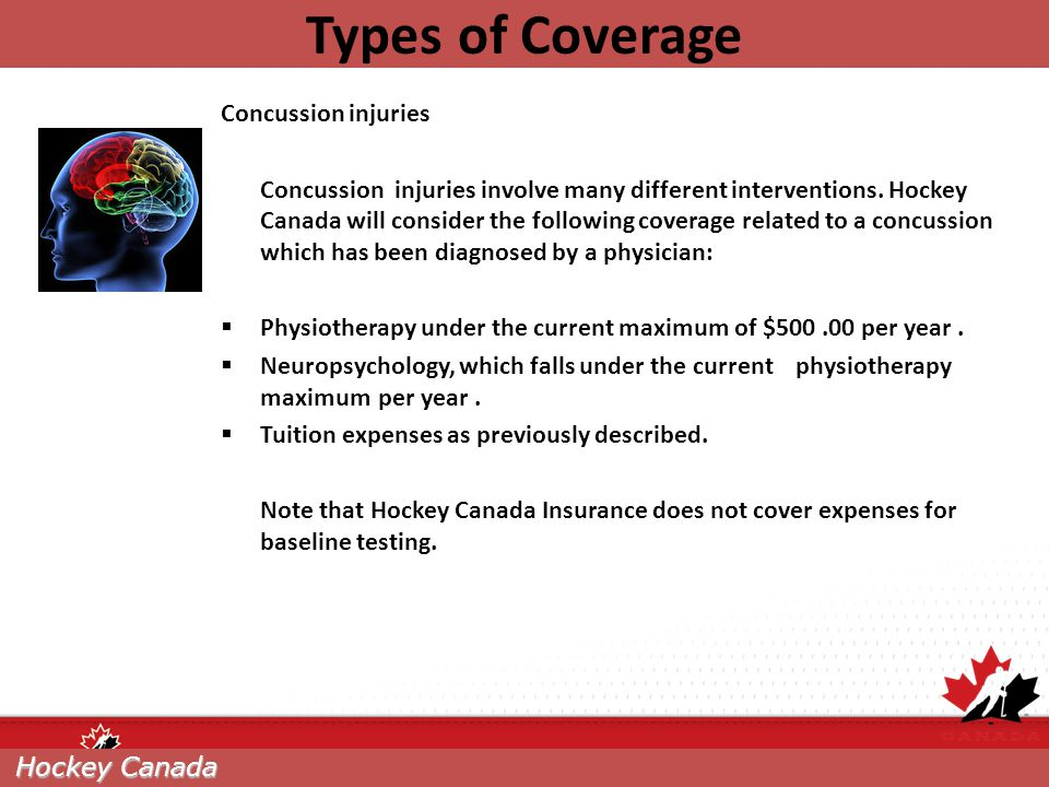 Types of Coverage Concussion injuries
