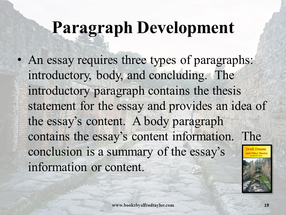 types of paragraph development in an essay Paragraph types: definition the starting point for a definition paragraph is a simple definition which becomes the topic sentence of the paragraph.