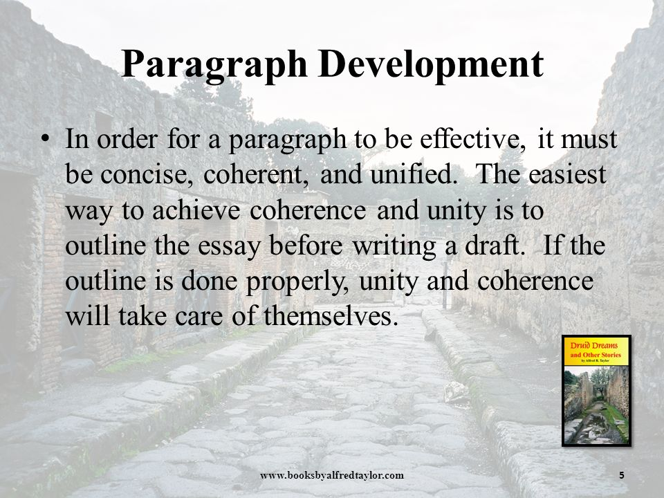 unified and coherent essay It is important that you understand what a topic sentence is in order to write a unified and coherent paragraph a topic sentence (also known as a focus sentence) encapsulates or organises an entire paragraph, and you should be careful to include one in most of your major paragraphs.