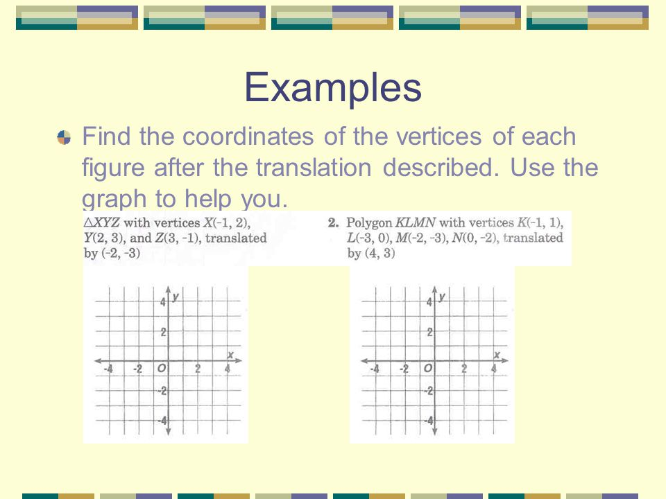 Examples Find the coordinates of the vertices of each figure after the translation described.