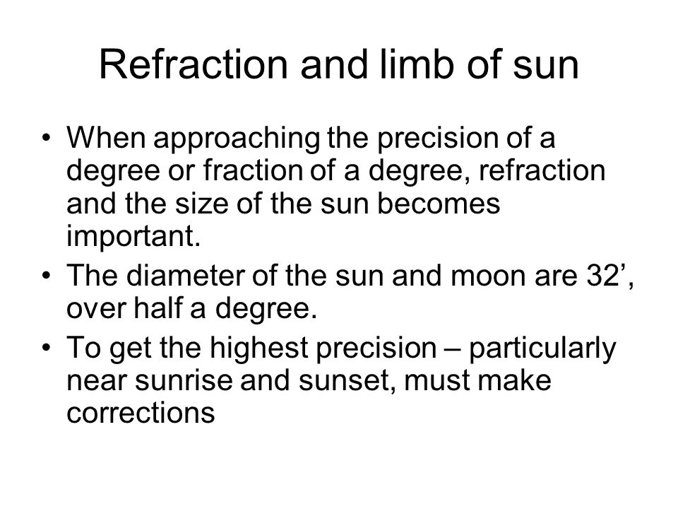 Refraction and limb of sun