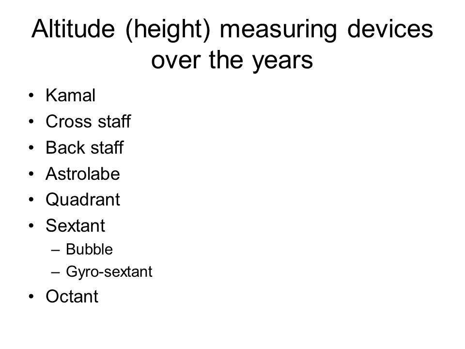Altitude (height) measuring devices over the years