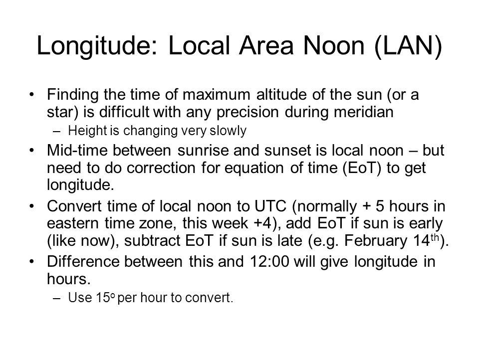 Longitude: Local Area Noon (LAN)