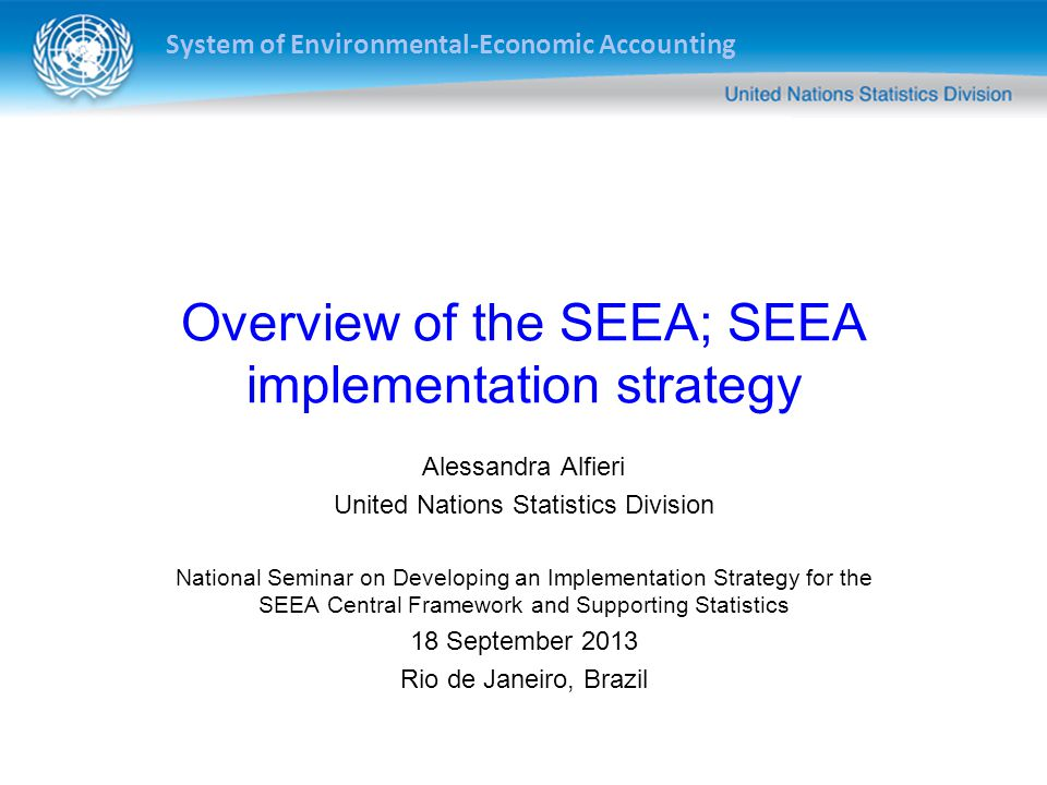 Overview of the SEEA; SEEA implementation strategy