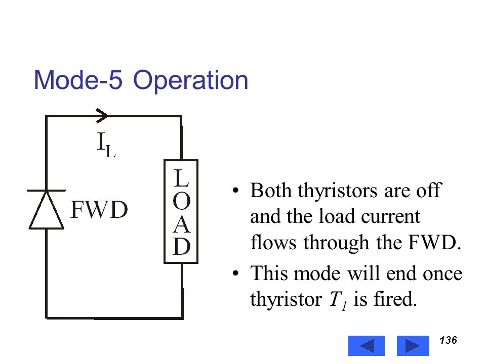 Power Electronics Mode-5 Operation. Both thyristors are off and the load current flows through the FWD.