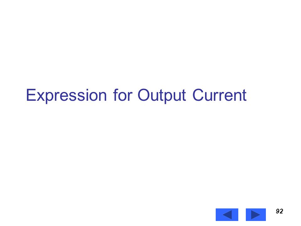Expression for Output Current