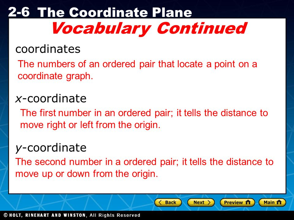 coordinate plane vocabulary