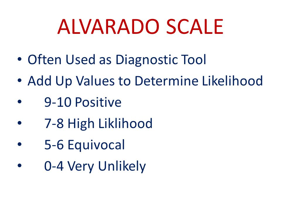 ALVARADO SCALE Often Used as Diagnostic Tool