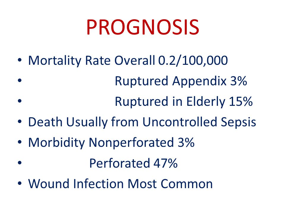 PROGNOSIS Mortality Rate Overall 0.2/100,000 Ruptured Appendix 3%