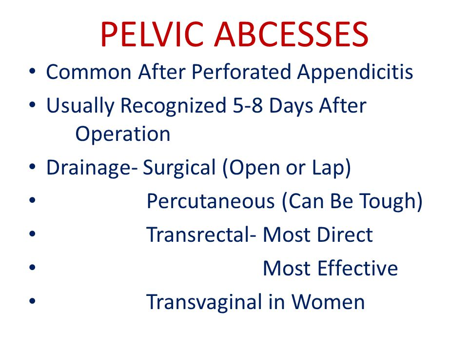 PELVIC ABCESSES Common After Perforated Appendicitis