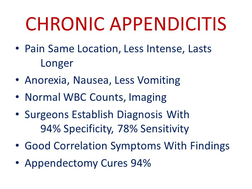 CHRONIC APPENDICITIS Pain Same Location, Less Intense, Lasts Longer