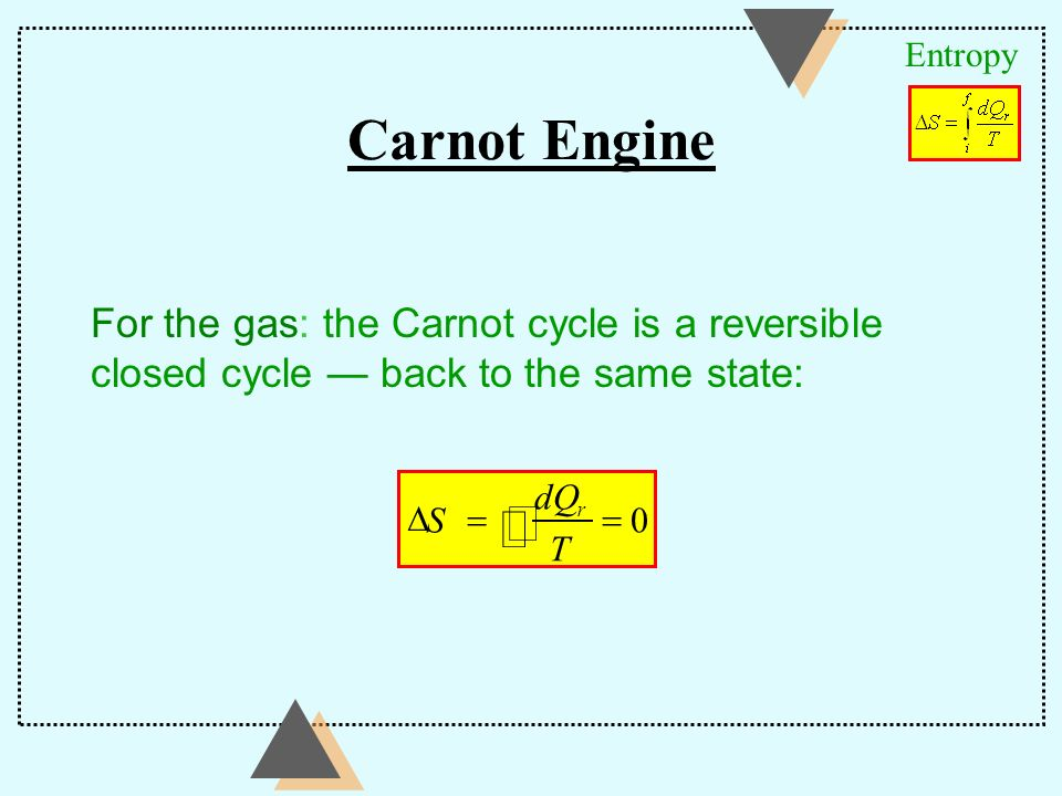 Carnot Engine ò Ñ For the gas: the Carnot cycle is a reversible