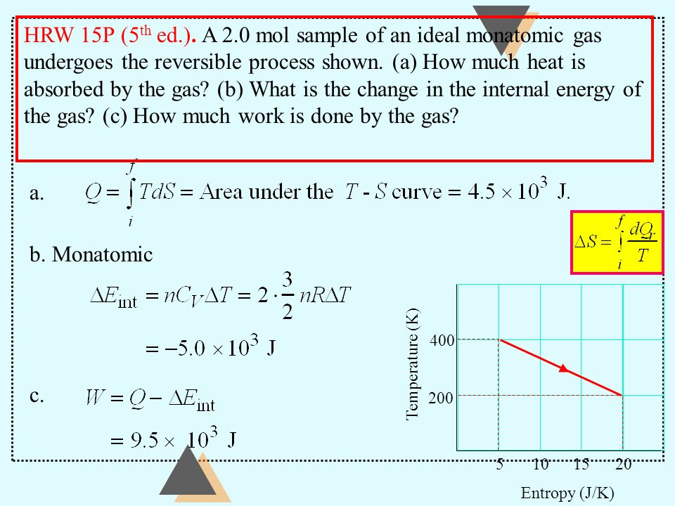 HRW 15P (5th ed.). A 2.0 mol sample of an ideal monatomic gas undergoes the reversible process shown. (a) How much heat is absorbed by the gas (b) What is the change in the internal energy of the gas (c) How much work is done by the gas