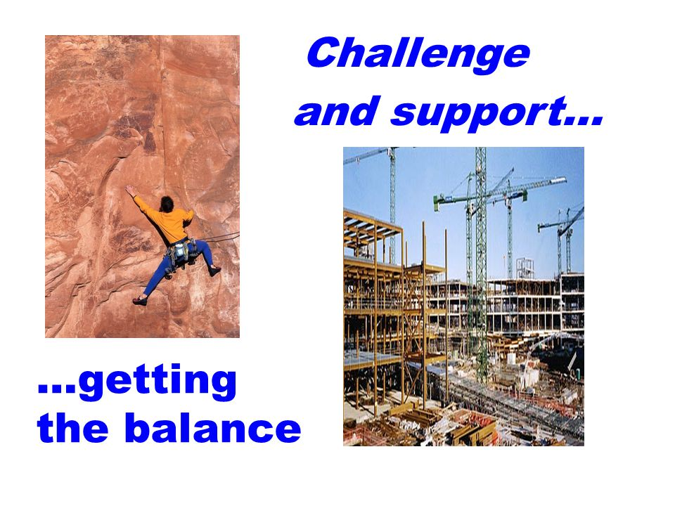 Challenge and support… …getting the balance